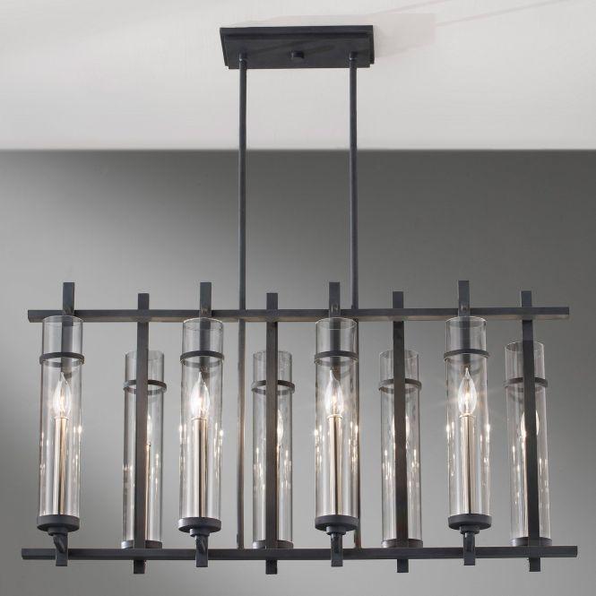 Attractive 8 Lights Glass Black Iron Polished Rectangular Chandelier For Midcentury Living Room Ceiling Lighting