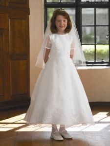 Wholesale Cheap Charming Latest White Fashion Custom Made Short     Wholesale Cheap Charming Latest White Fashion Custom Made Short Sleeves First  Communion Dress  BSFCD