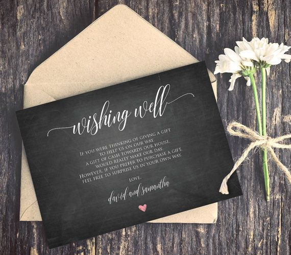 Wishing Well Poem Template INSTANT DOWNLOAD Editable Text Lieu Of Gifts Card DiY Chalkboard