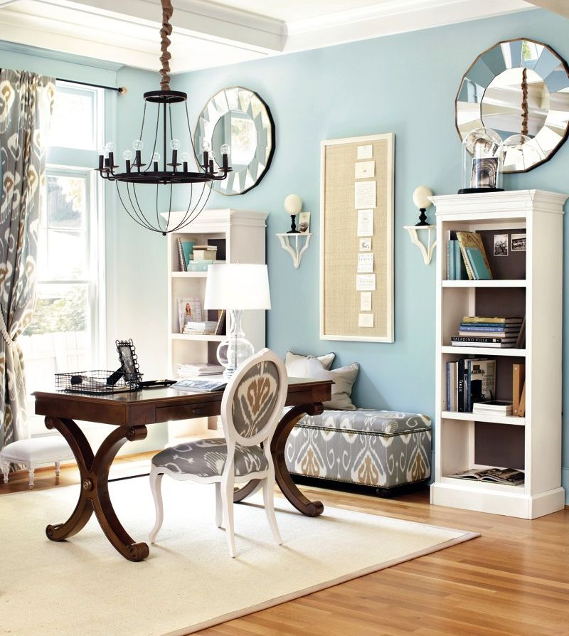 light blue home office with gray accents office on blue office color id=74735
