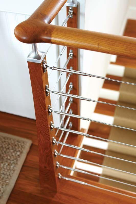 Nautical Inspired Teak Staircase Has Horizontal Stainless