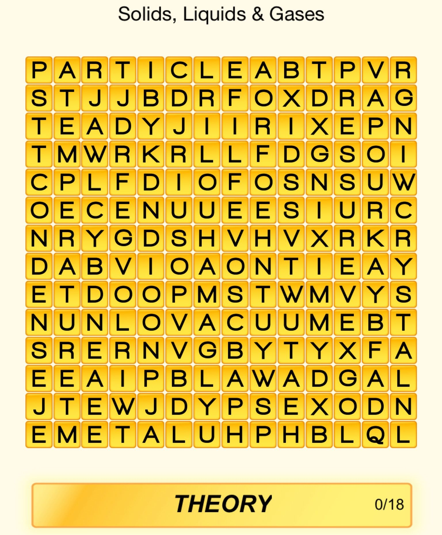Can You Find The 18 Words On Solids Liquids Amp Gases