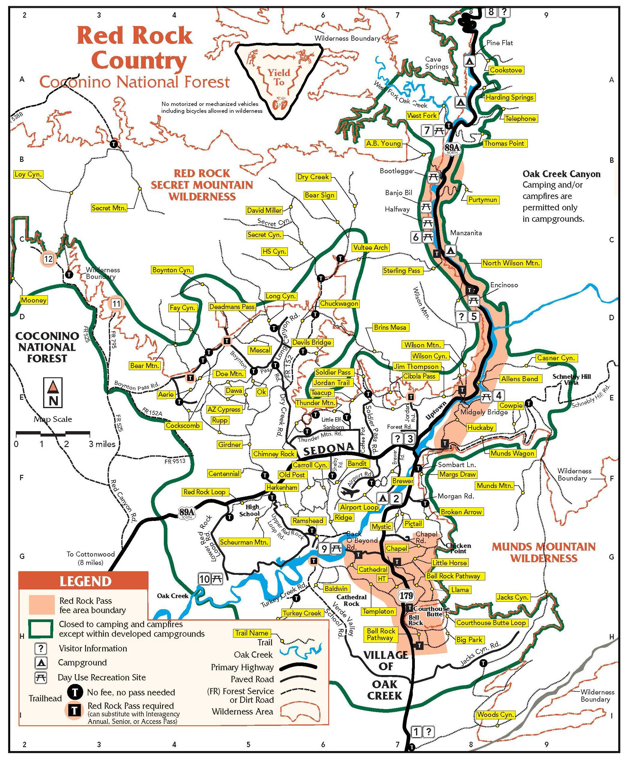 map of sedona arizona area hiking