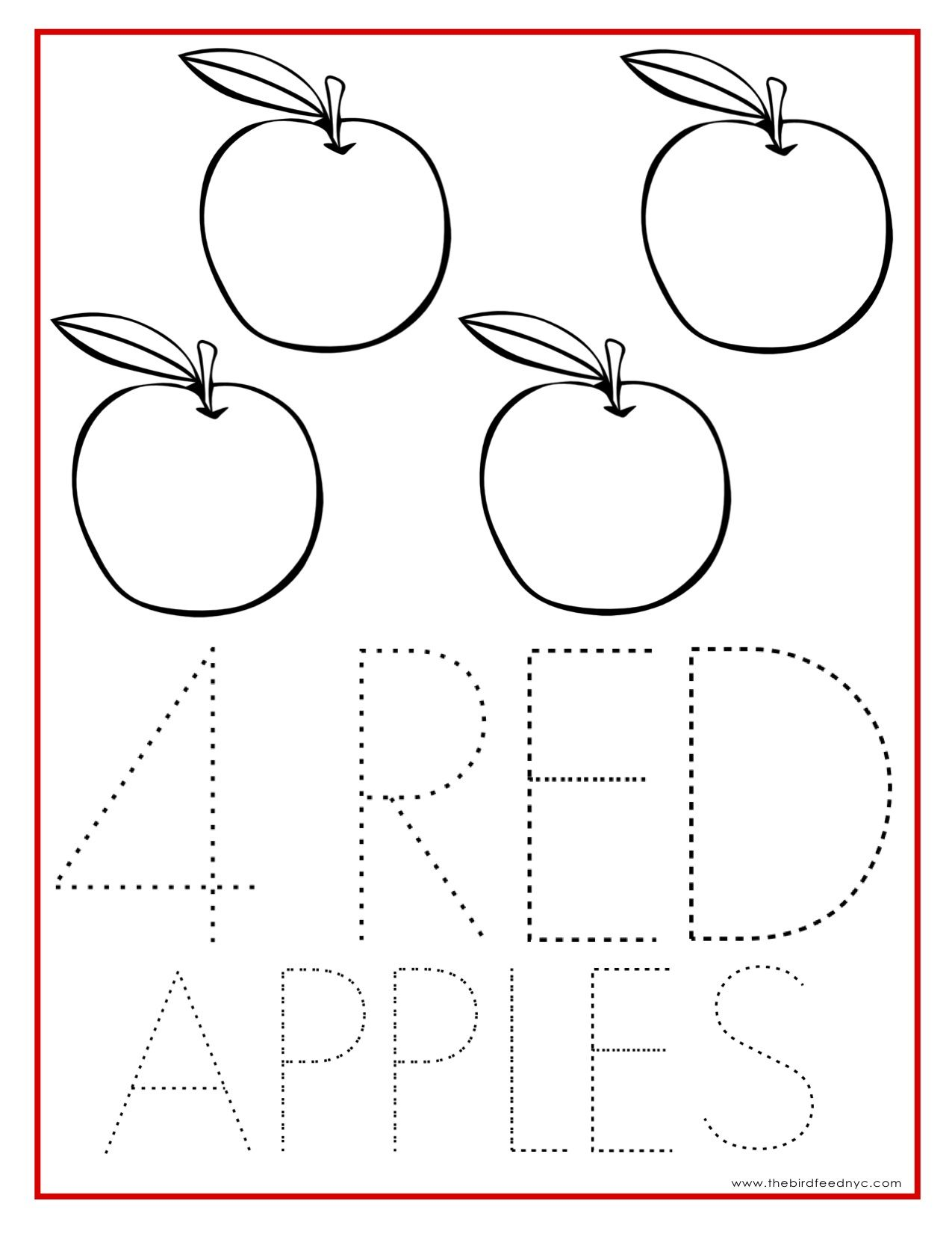 Number Coloring Sheet 4 Red Apples