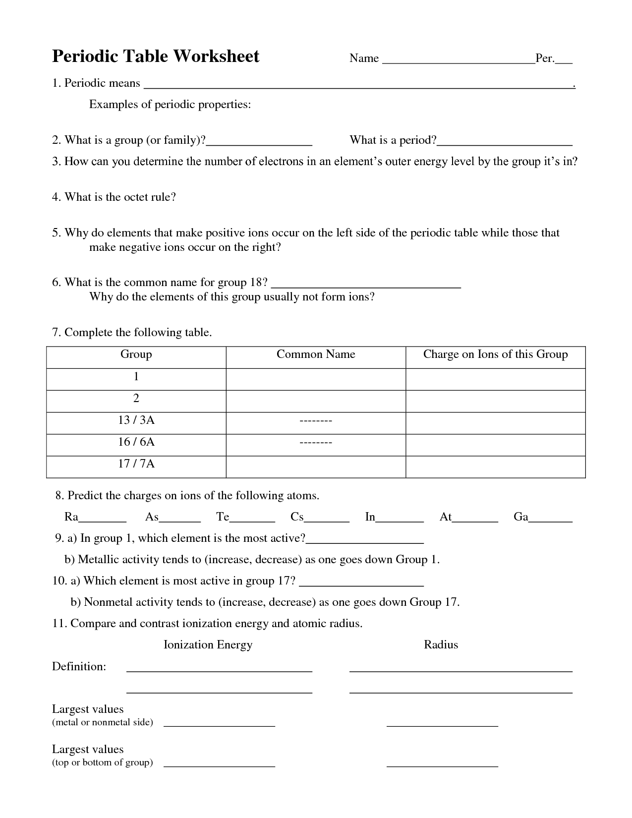 Chemistry Worksheet Answers 1