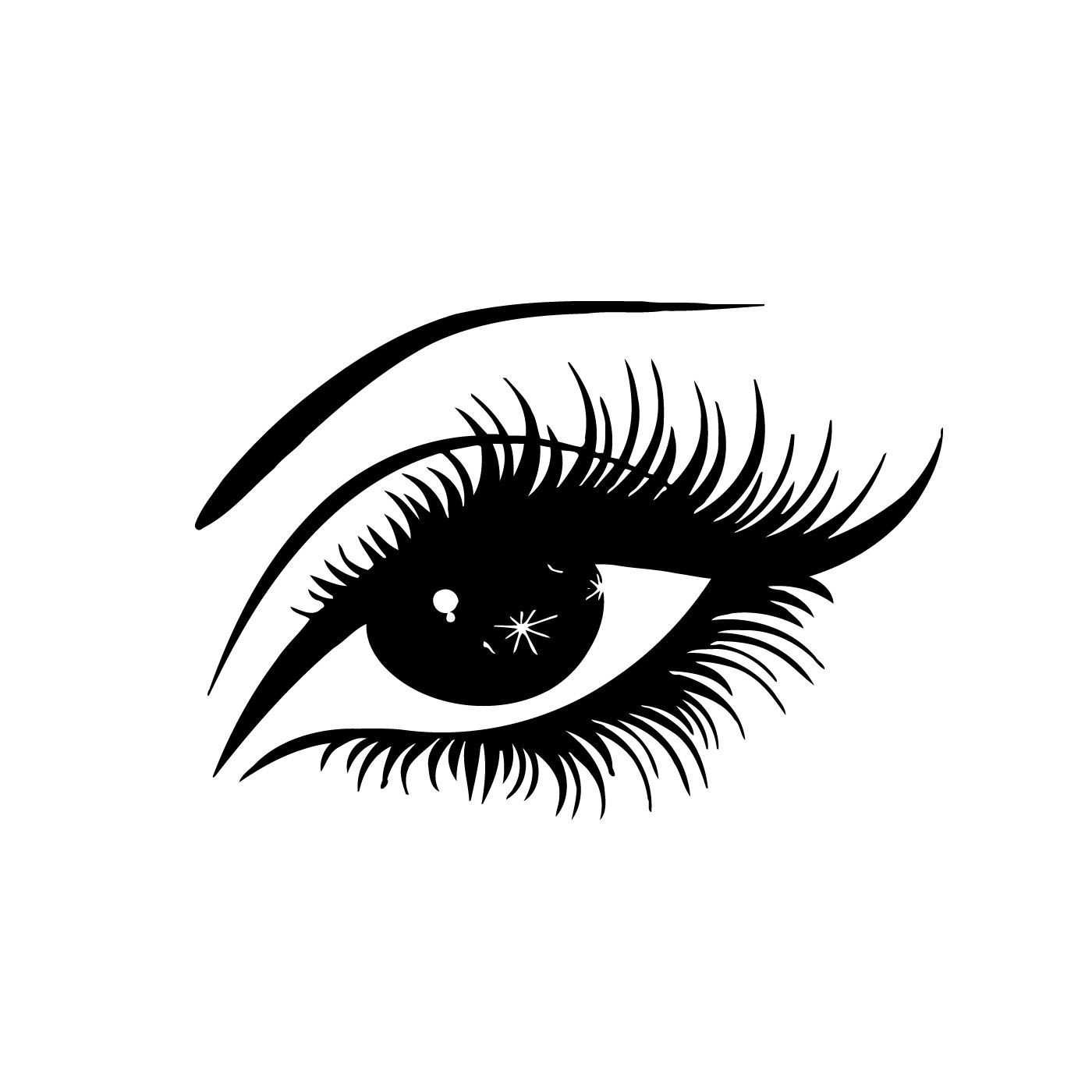 Eyes With Lashes Clip Art Vector Sketch Coloring Page