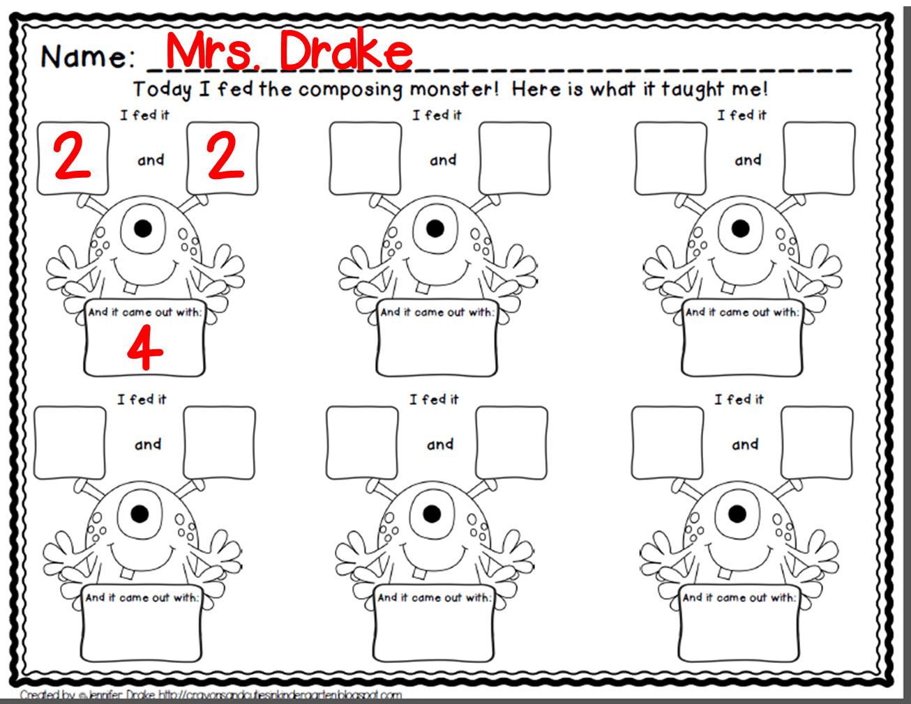 Composing Numbers Kindergarten Worksheets
