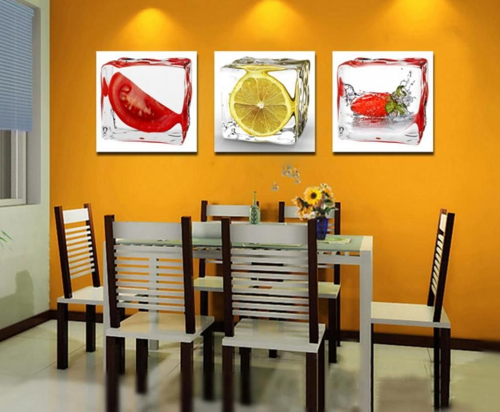 wholesale 3 piece fruit wall art decor painting home kitchen decorating ideas modern wall on kitchen decor paintings prints id=15350