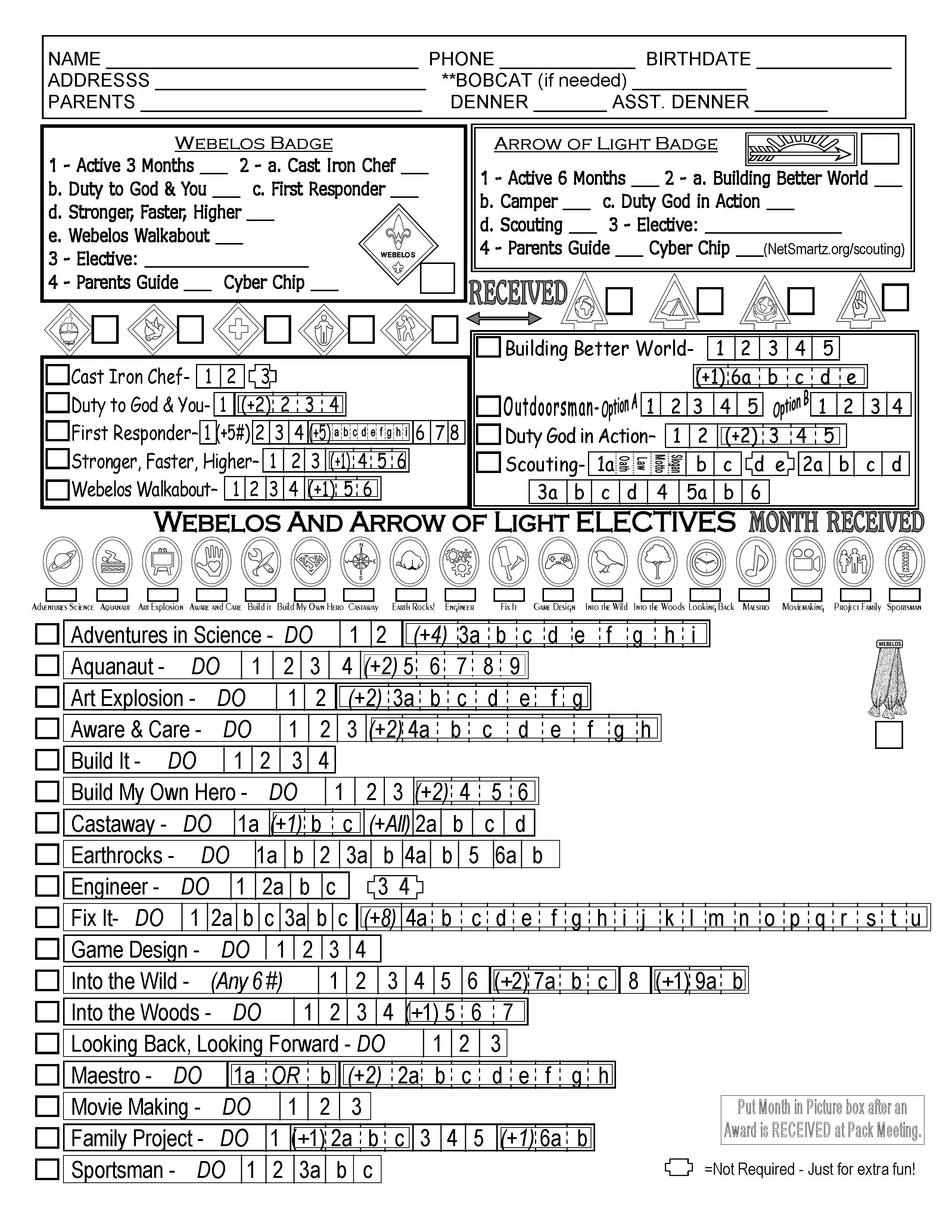 Cub Scout Webelos Tracking Sheet With The New Modified
