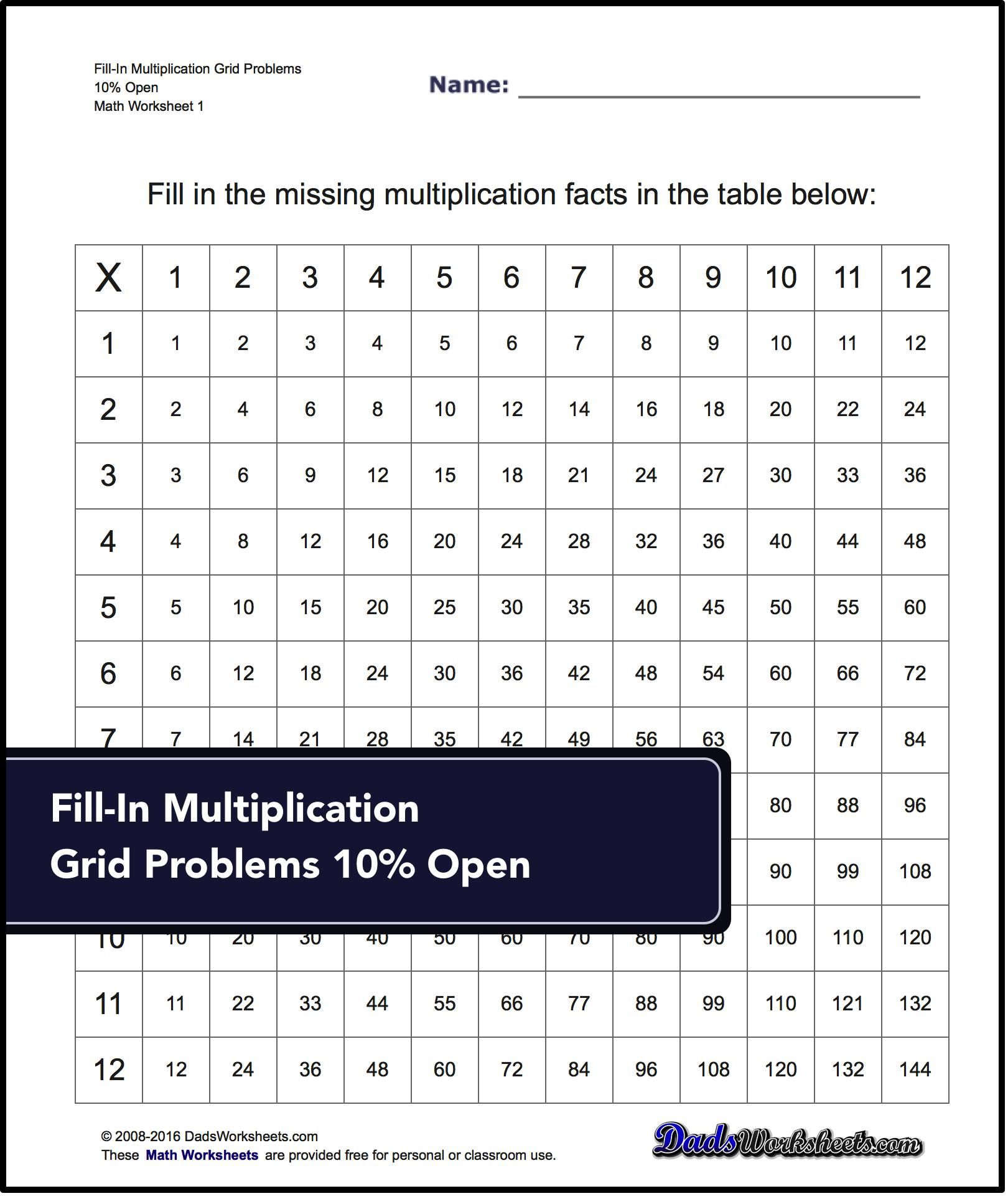 Grid Problem Multiplication Worksheets For Introducing