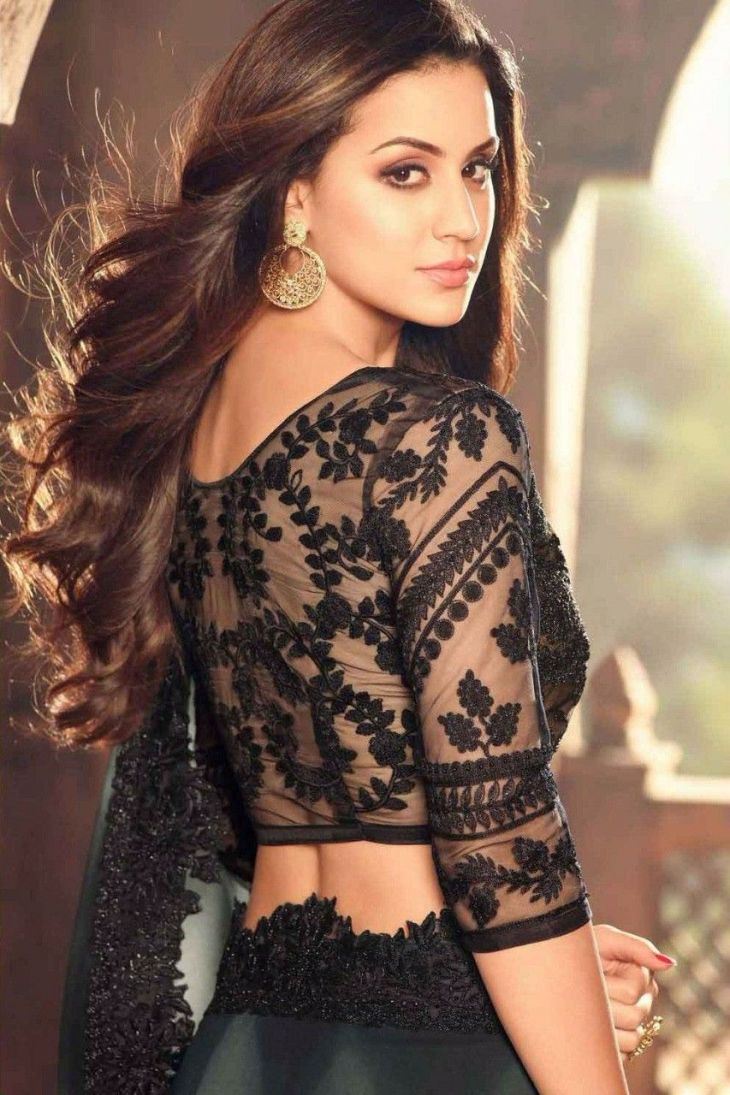 Black Georgette Saree  Glamorous blouse backs  Pinterest
