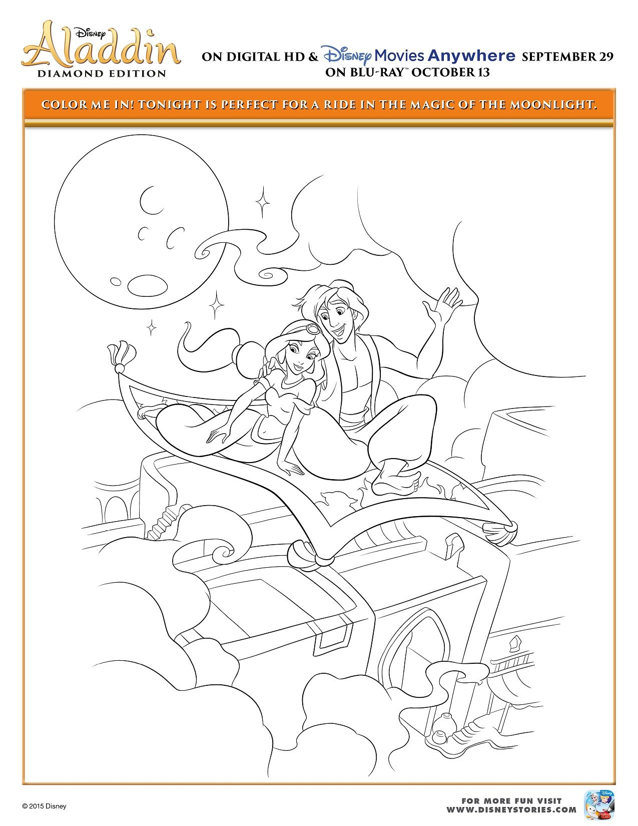 Aladdin Coloring Page Activity Sheet 4