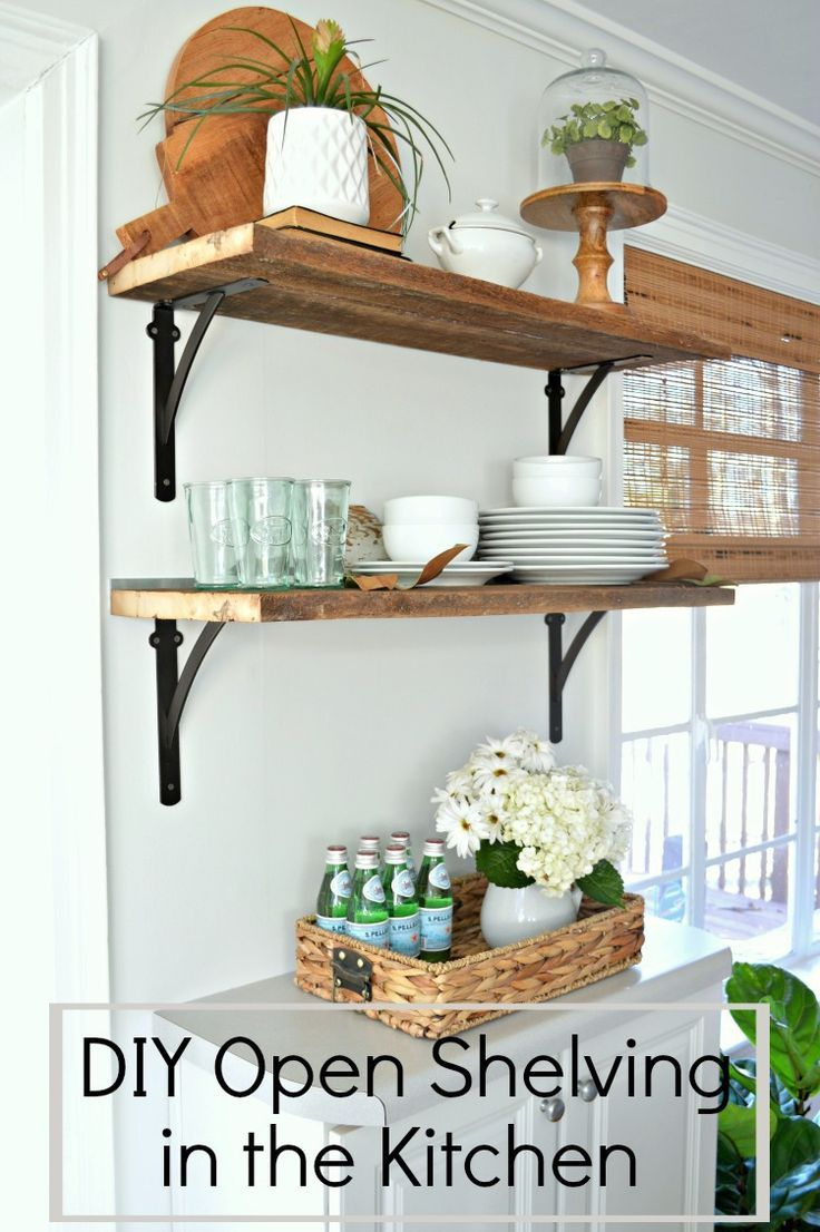 beautiful diy open shelving in the kitchen for under 50 on kitchen shelves instead of cabinets id=35206