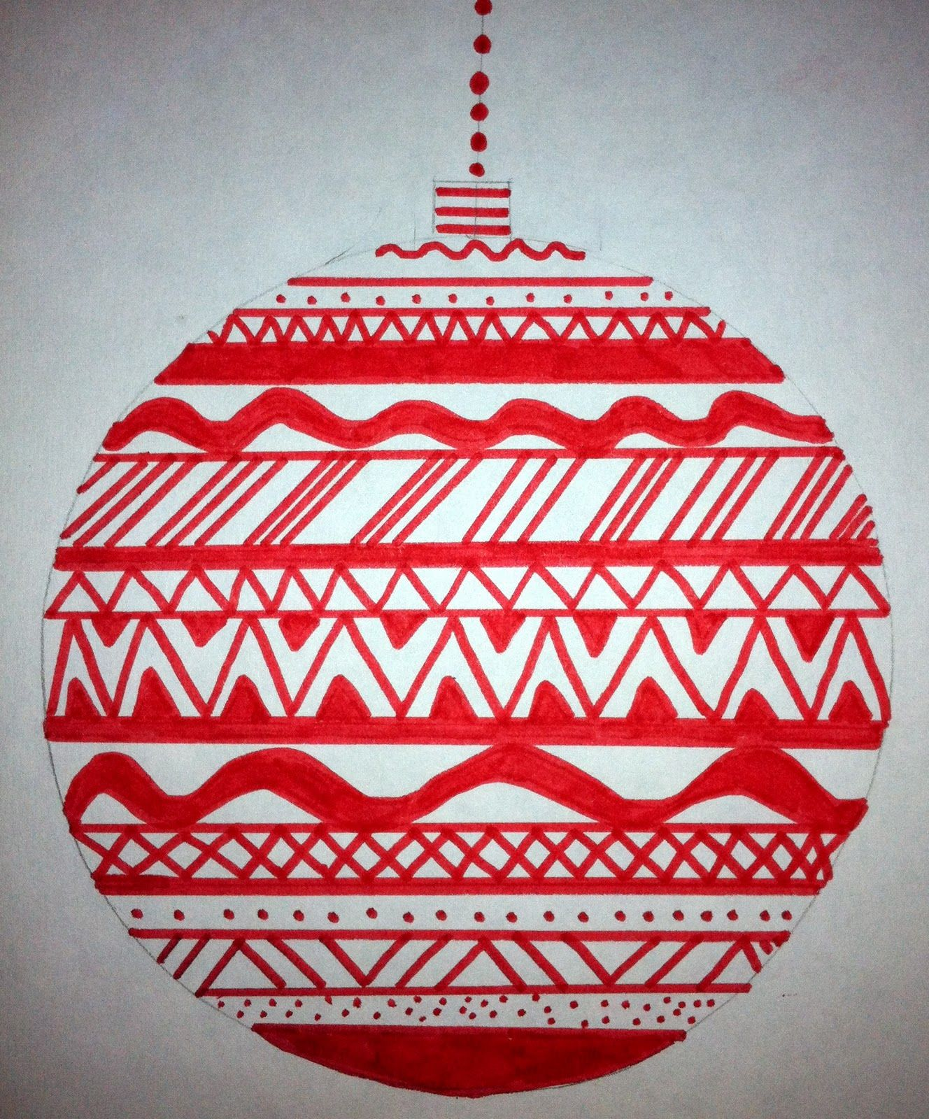 The 8th Grade Class Created Christmas Ornaments Using Different Types Of Lines To Create A