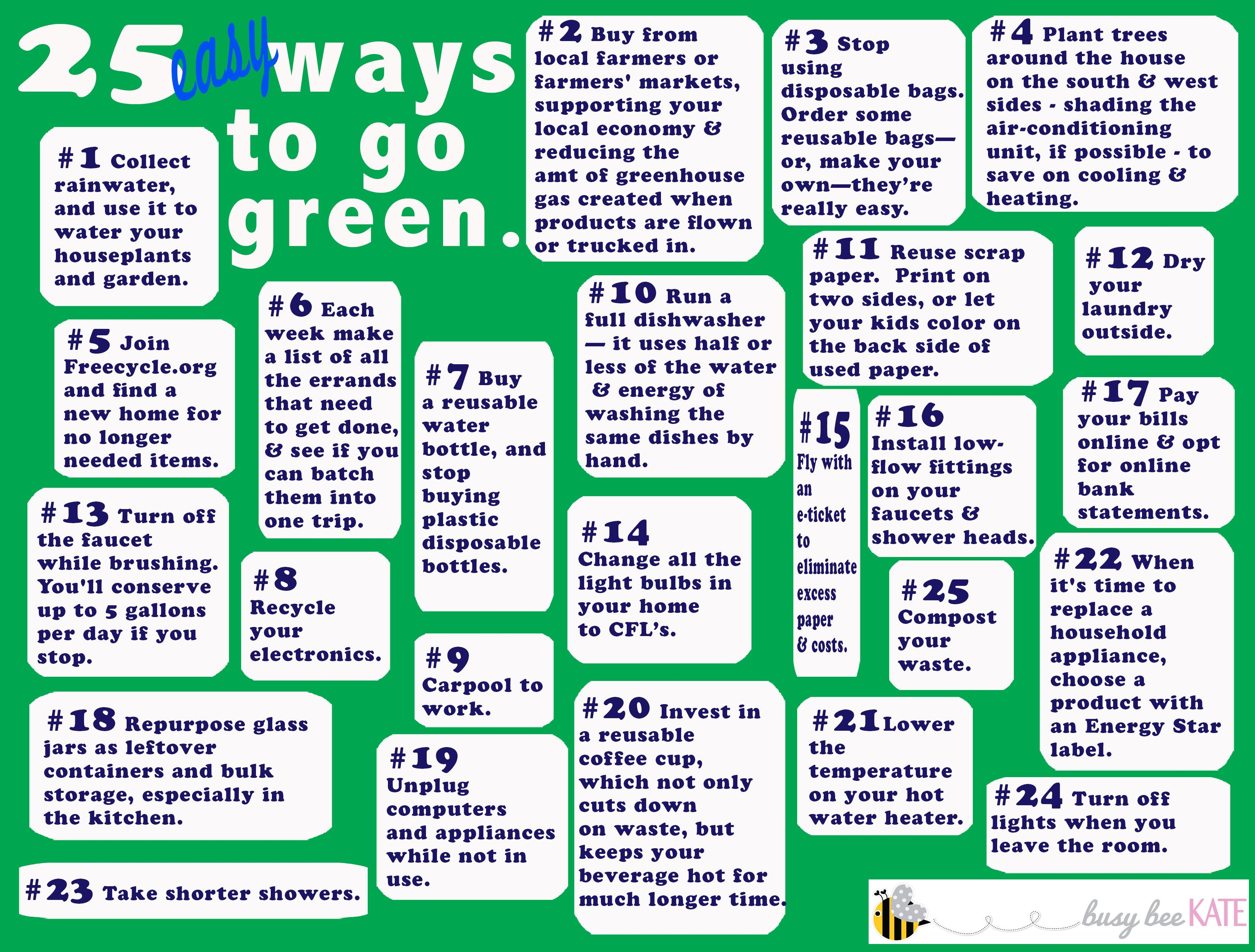 25 Easy Ways To Go Green Often Times People Ask What They