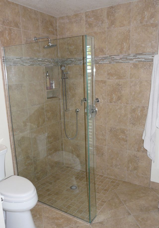 Master Bath remodel with curbless shower pan and frameless glass