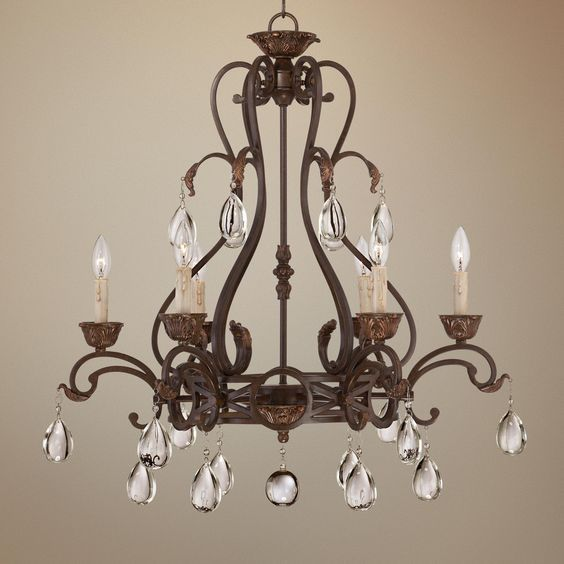 Chandelier Enchanting Wide 60 Inch Brown With Glass Candle Fire And Crystal Decorations Astounding