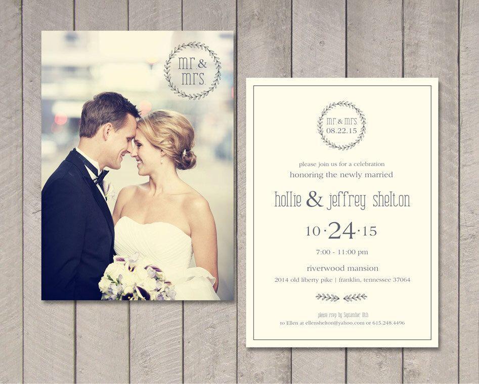 Modern Wedding Reception Invitation (Printable) By Vintage
