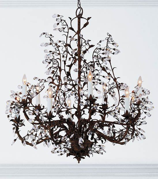 Hand Crafted Wrought Iron Chandelier With Swarovski Crystal Drops
