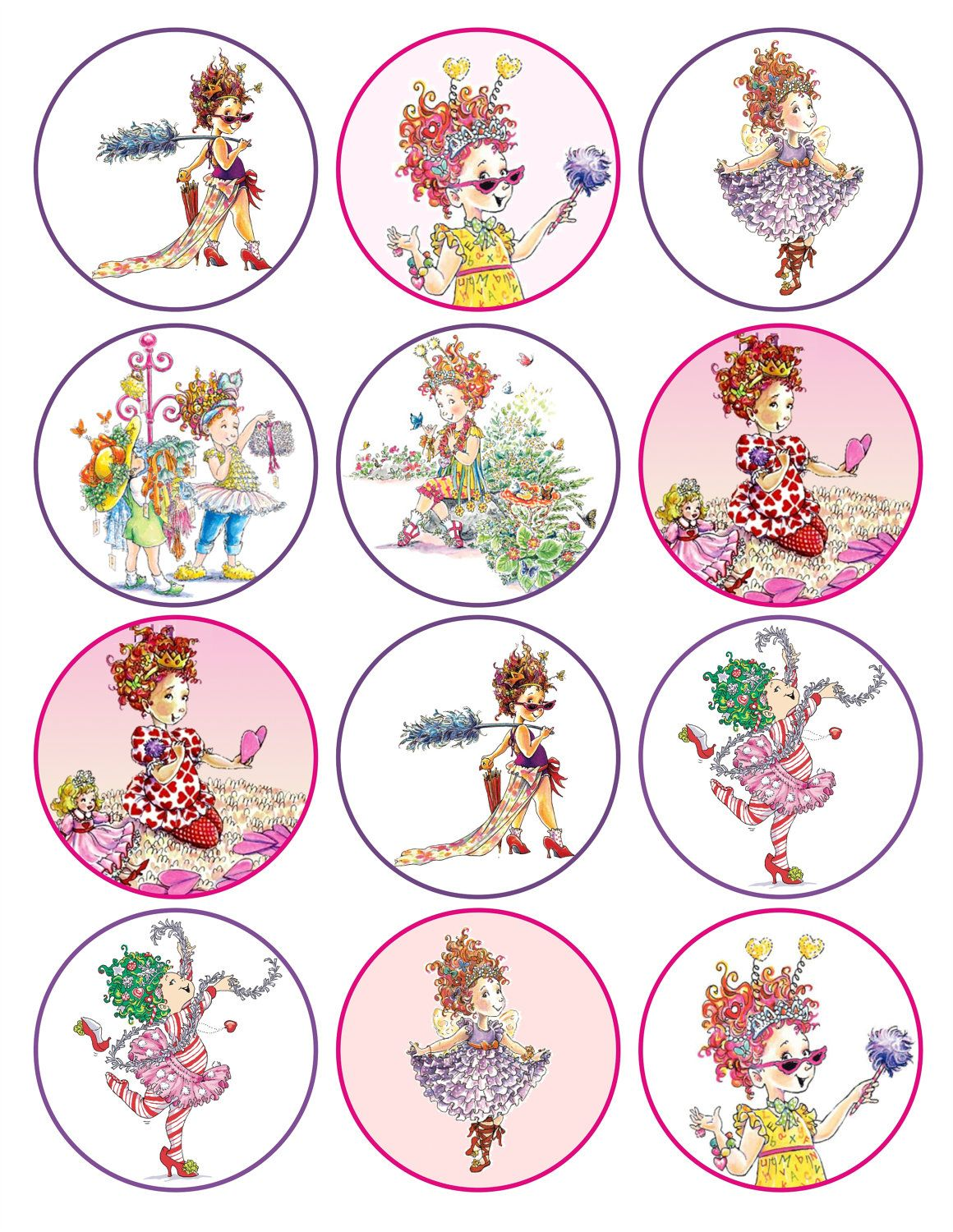 Fancy Nancy Printable Birthday Party Cupcake Toppers Favor