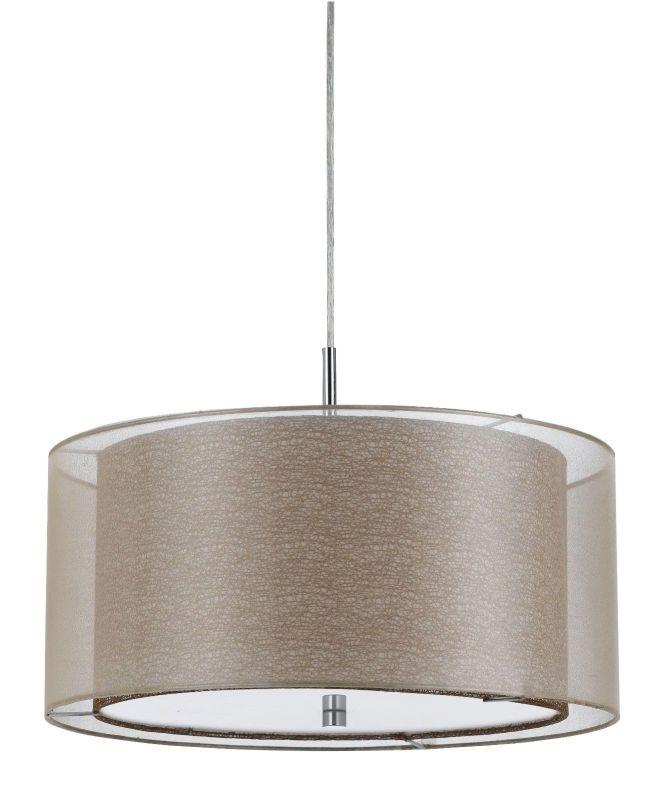 Double Shade Sheer Fabric Burlap Modern Drum Pendant Light Chandelier Hanging Lamp Decor Fixture 18