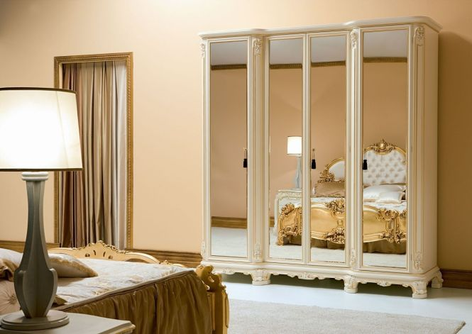 Mirror Closet Doors Furniture Charming Small Clic Style Bedroom Wardrobe Design With Laminate In