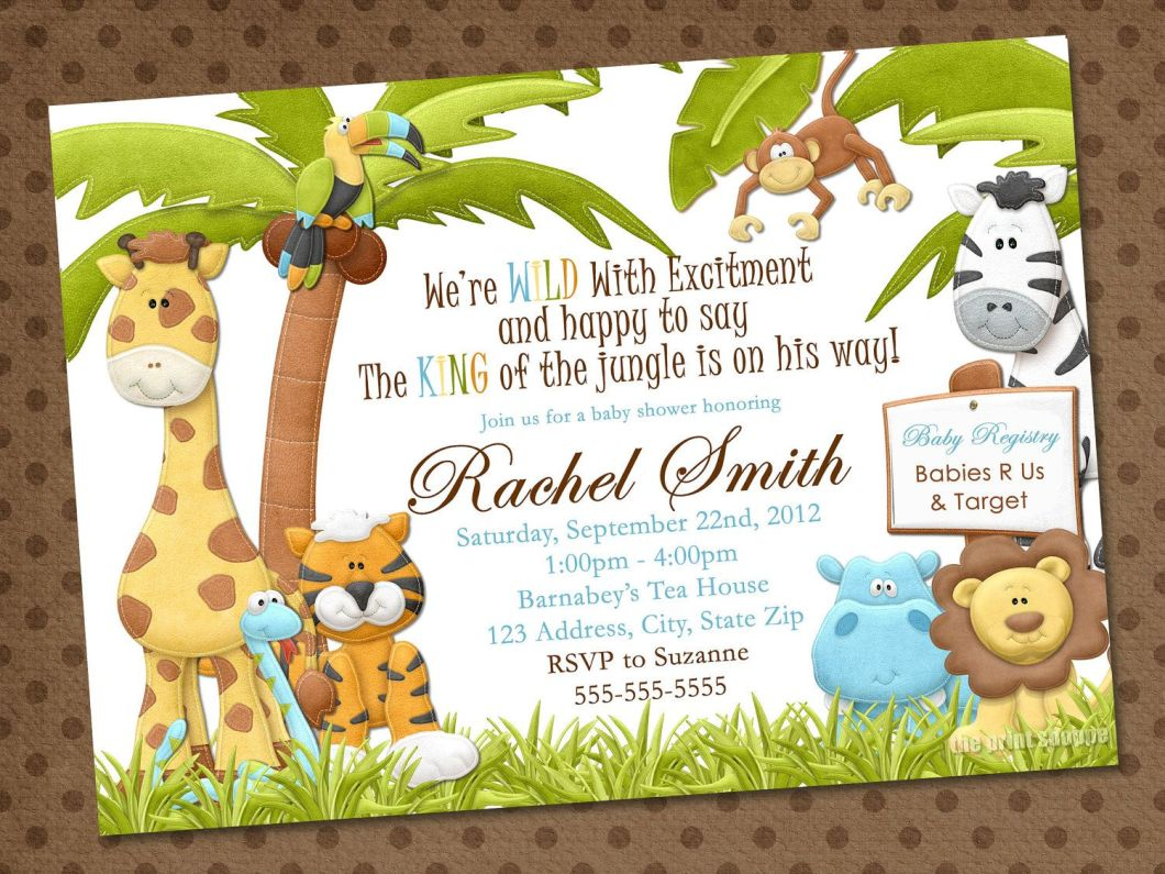 Free Baby Shower Invitations Printables Jungle Theme | Rezzasite.co