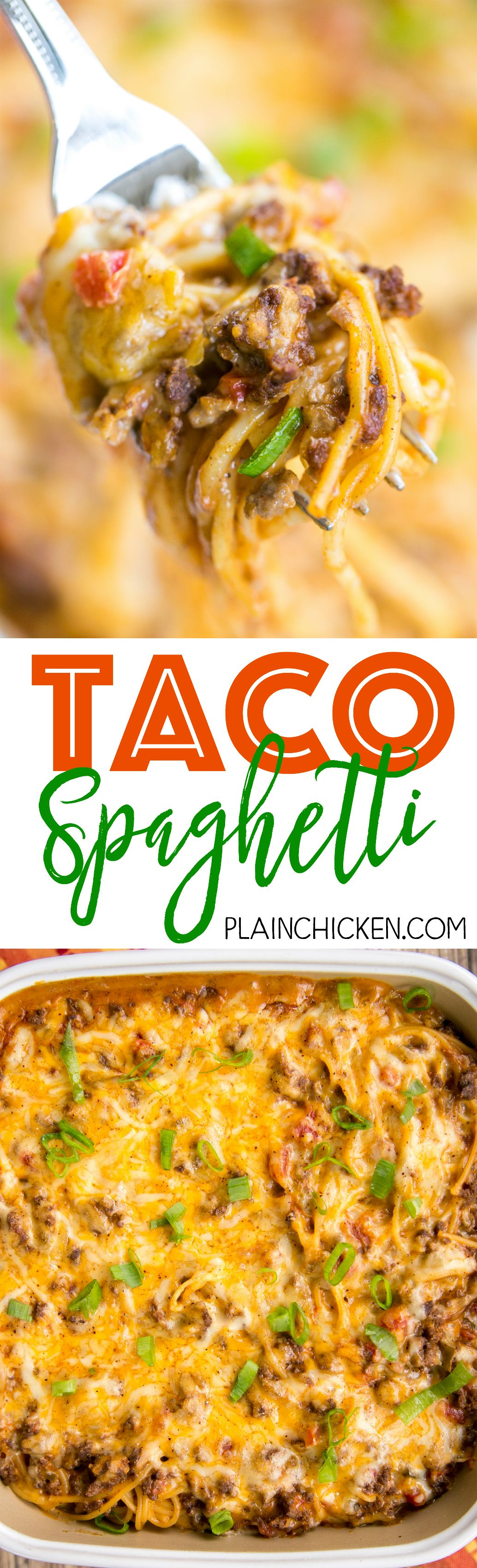 Taco Spaghetti – THE BEST! We ate this three days in a row! Ready in 30 minutes!! Taco meat, velveeta, diced tomatoes with green
