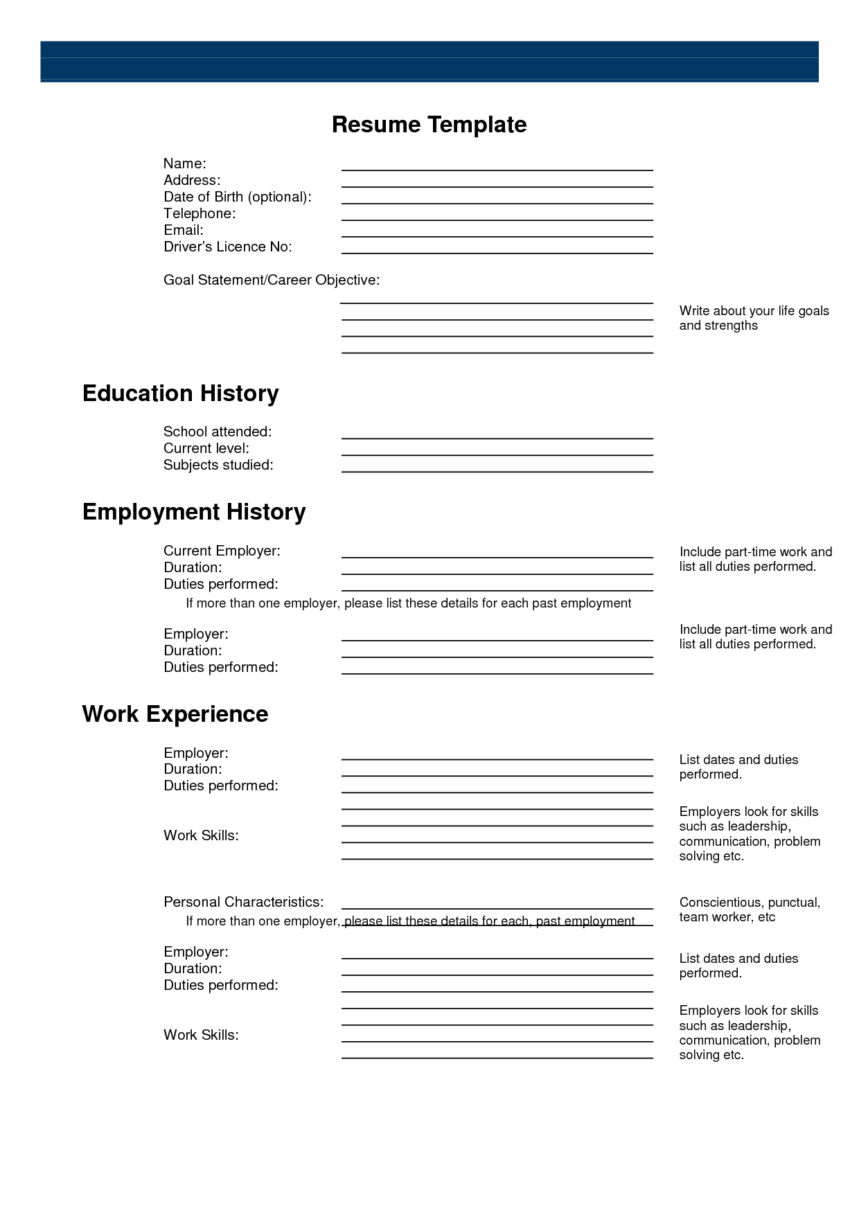 Free Printable Sample Resume Templates