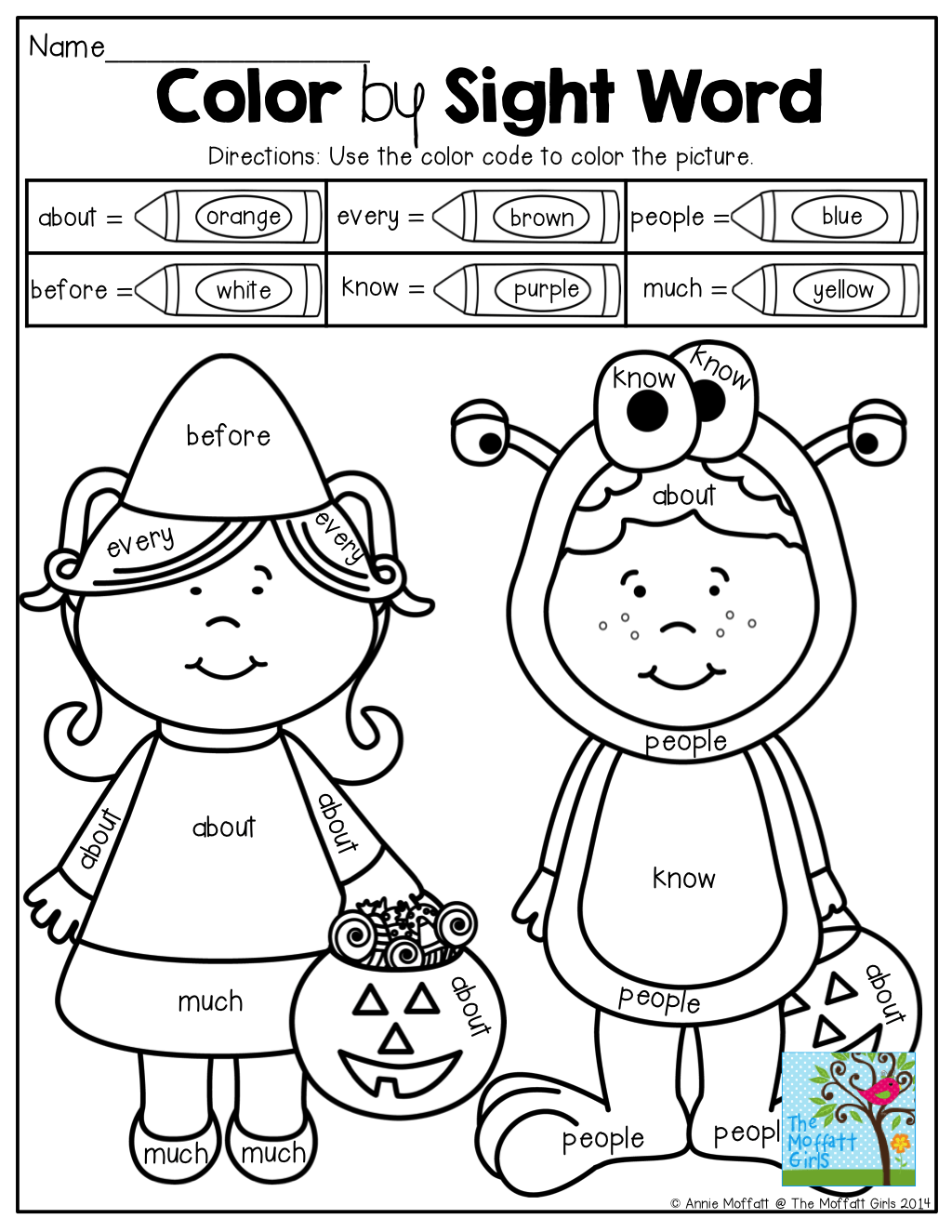 Color By Sight Word Use The Color Code To Color The