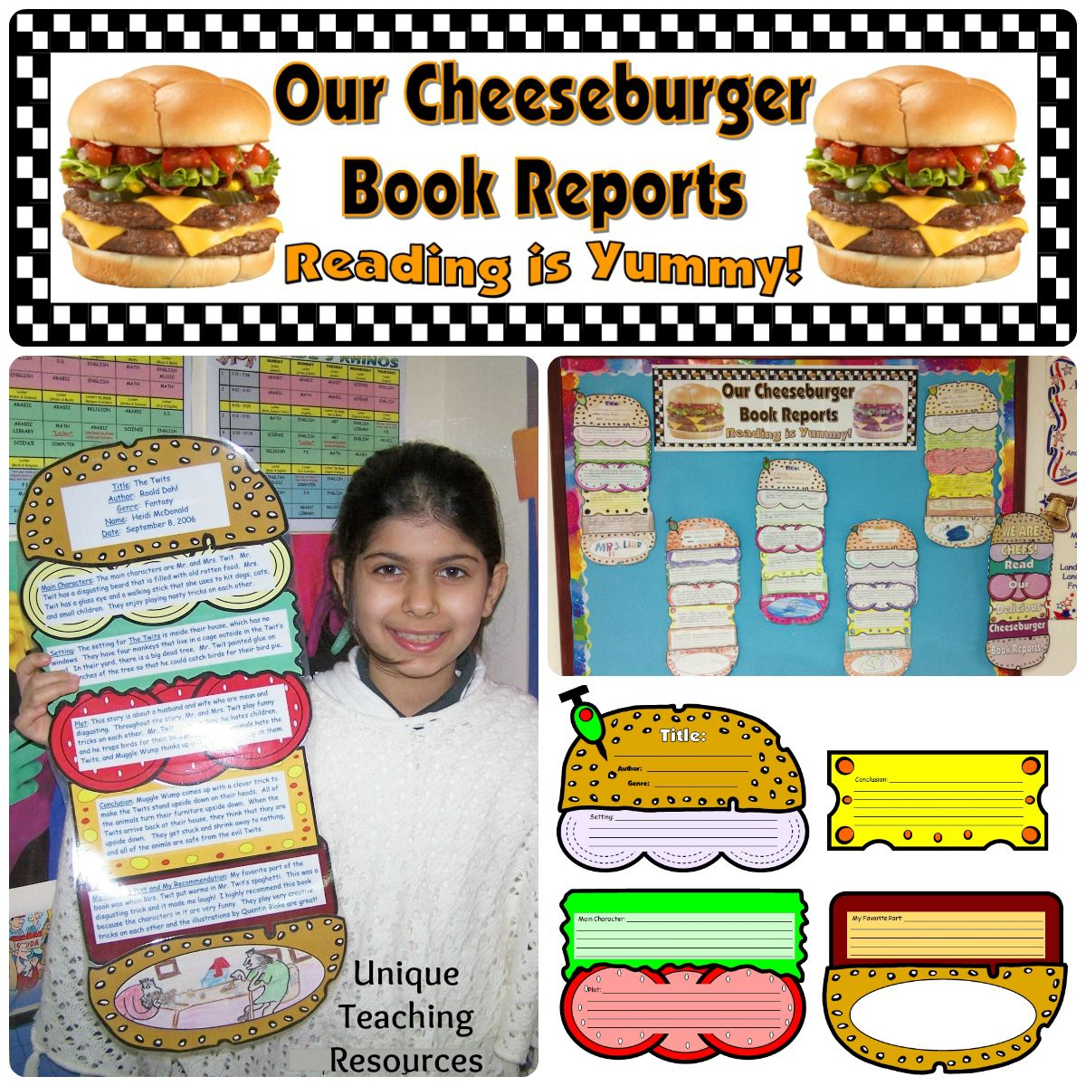 Cheeseburger Book Report Project Templates Printable Worksheets And Rubric