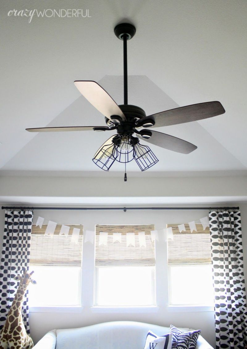 Caged Light Ceiling Fan Remove Glass Shades Add Cages And Switch To Edison Bulbs