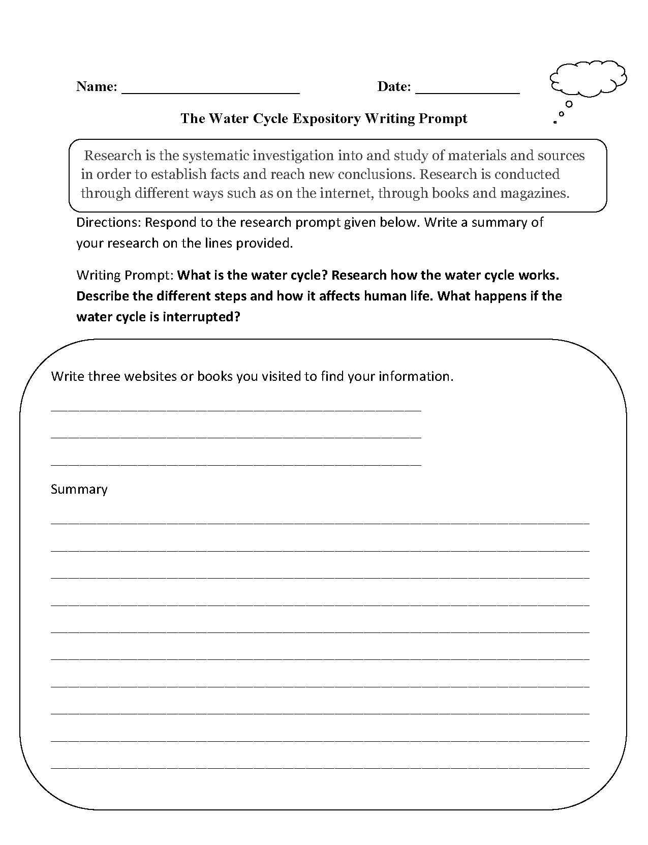 Water Cycle Expository Writing Prompt Worksheet