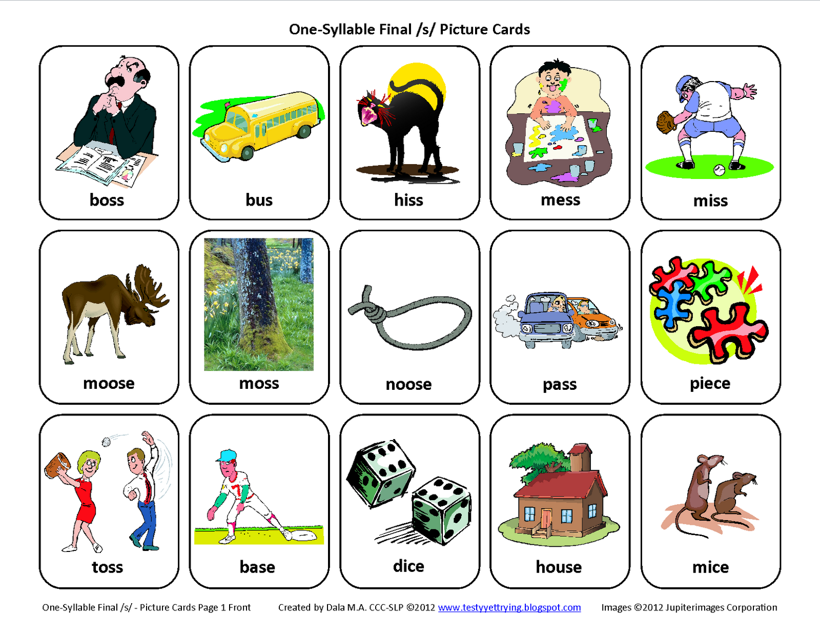 Testy Yet Trying Final S Free Speech Therapy Articulation Picture Cards