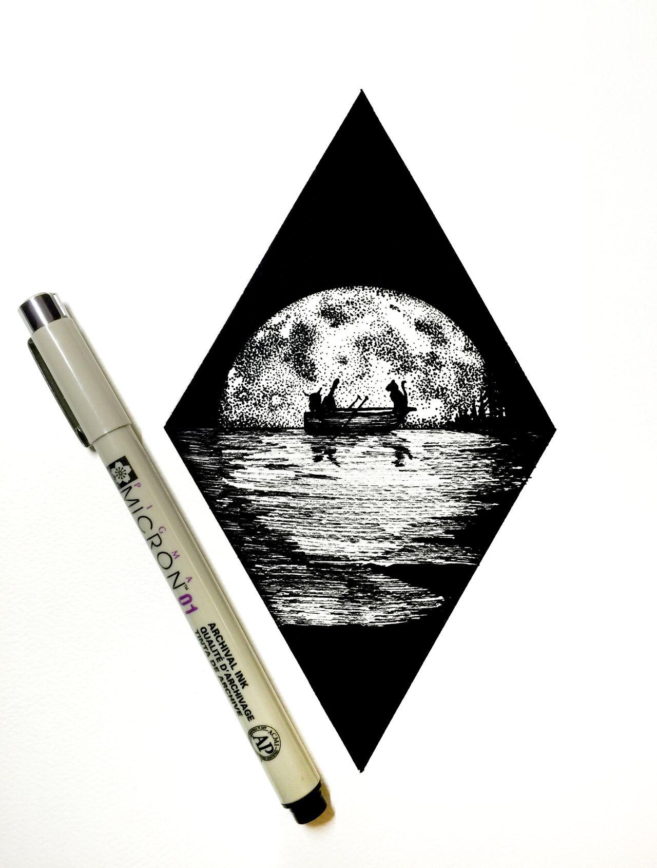 Moon Blackandwhite Pen