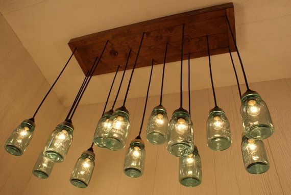 Mason Jar Chandelier Antique Blue Jars Lighting Refined Alder Wood Kind Of Like This But Not As May