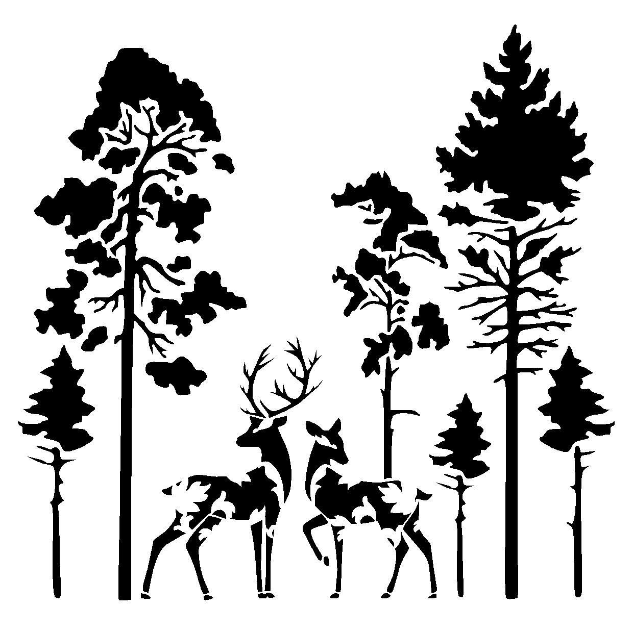Details About Deers In Forest Stencil Craft Fabric Glass