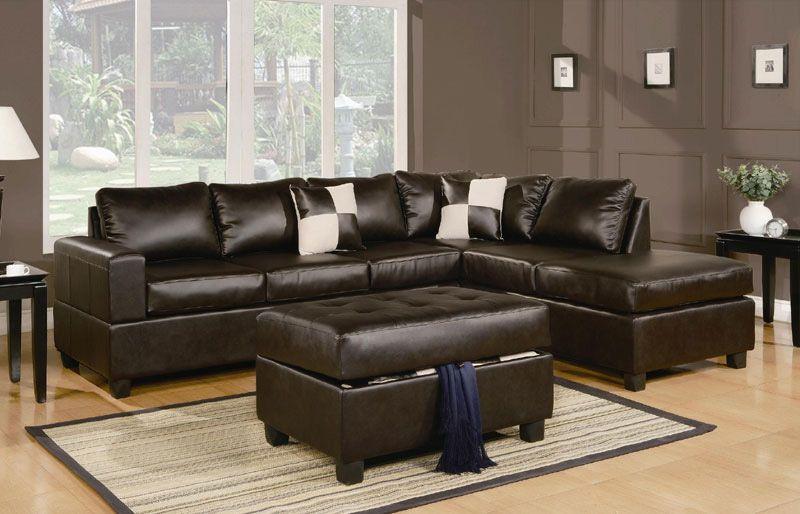 Sacramento Espresso Leather Sectional Sofa With Right