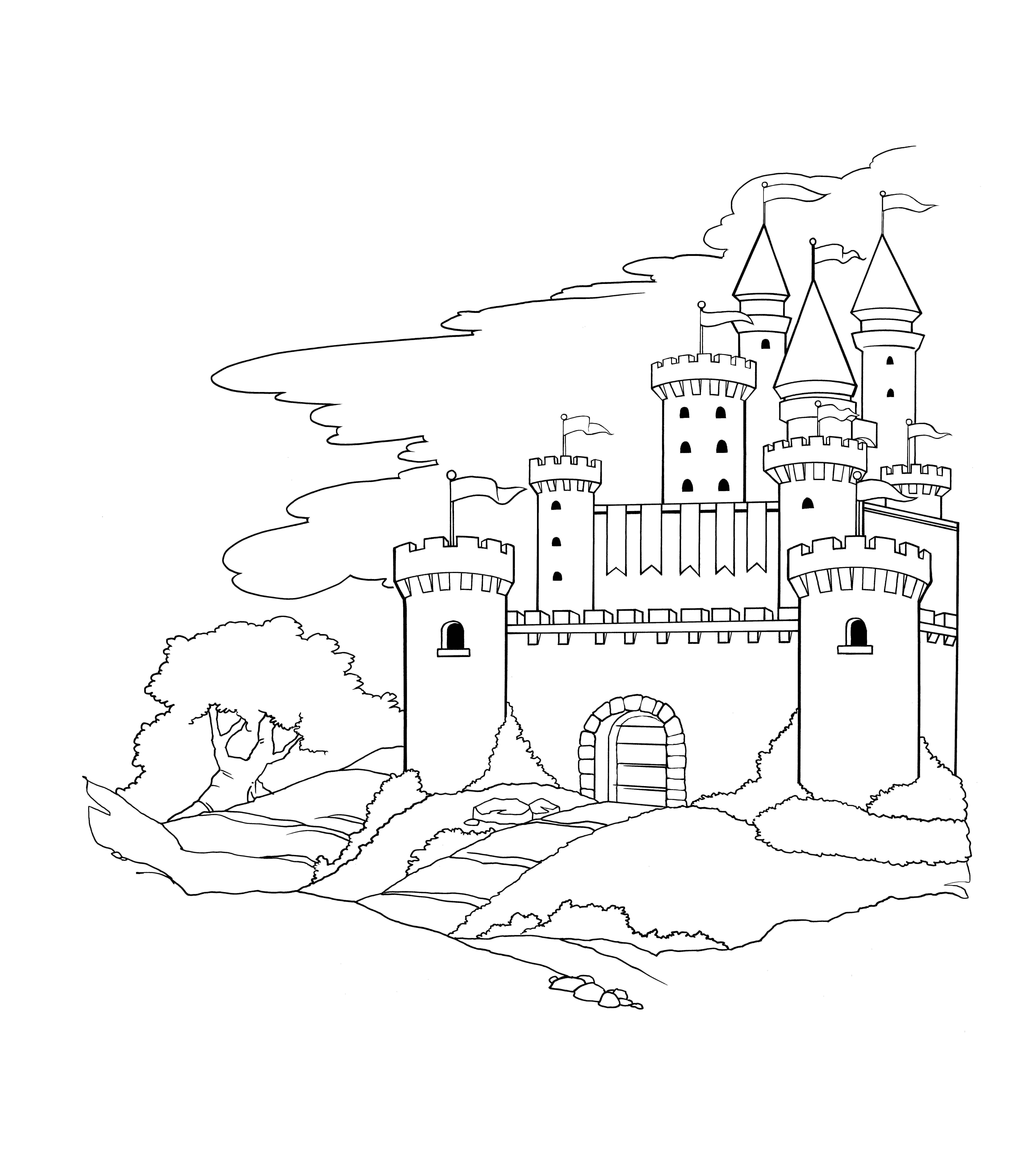 Castle Coloring Page Coloring Pages Pinterest