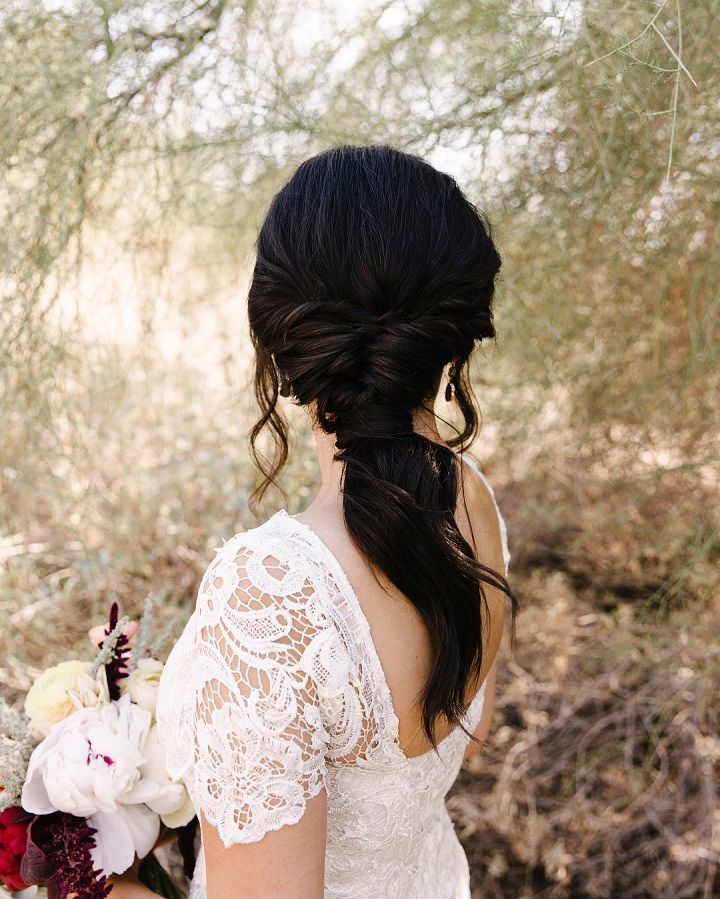 Beautiful Ponytail Wedding Hairstyle For Romantic Brides