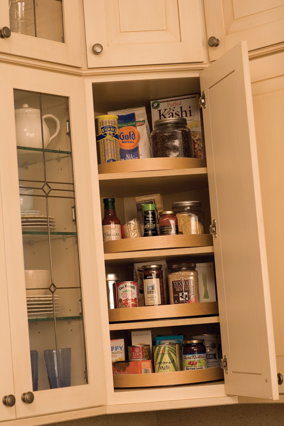 a corner wall cabinet is an ideal location for a stack of convenience turntables dura supreme on kitchen organization cabinet id=25682