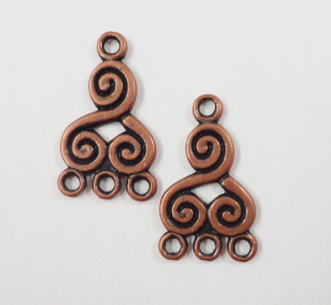 Copper Chandelier Earring Findings 21x13mm Antique Metal Swirl Spiral 3 To 1 Connector Jewelry