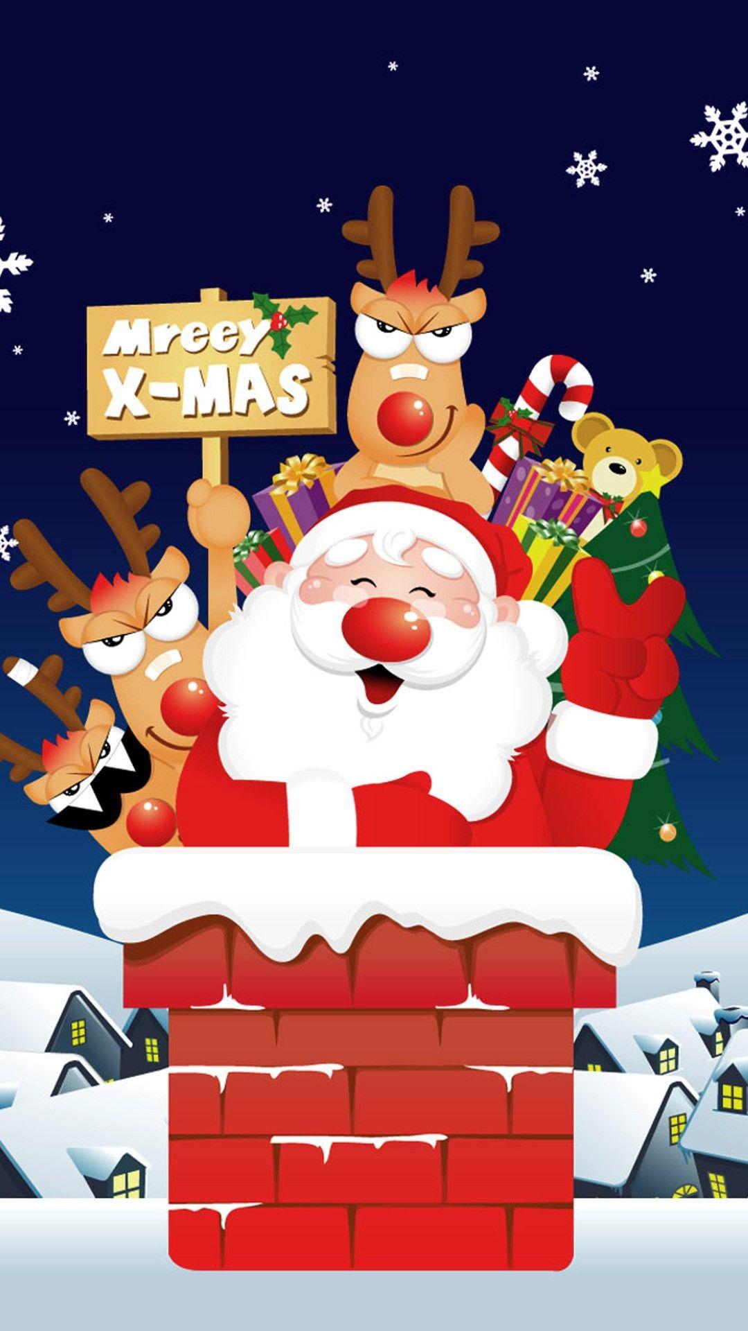 merry x-mas santa on the roof christmas iphone 6 plus wallpaper