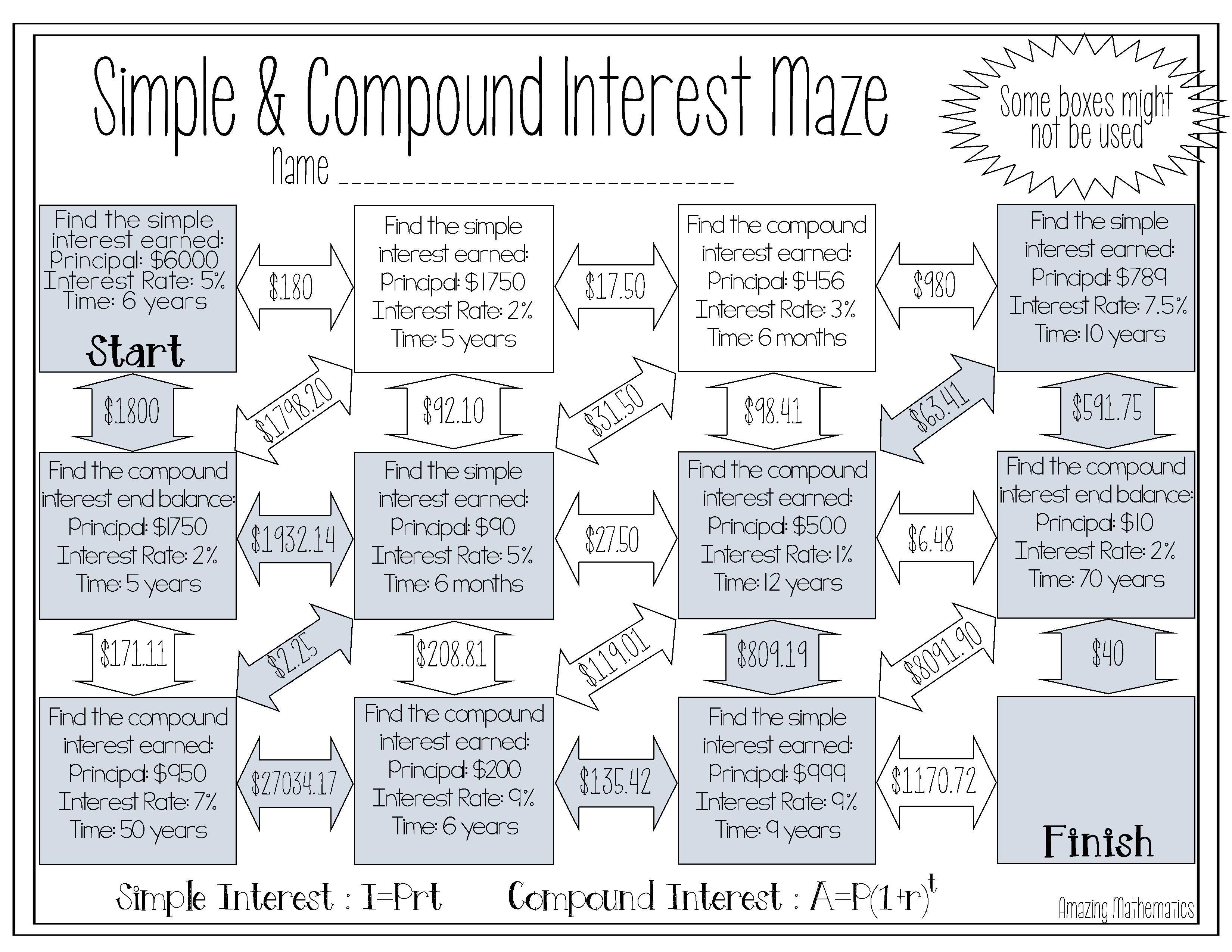 Simple Amp Compound Interest Maze