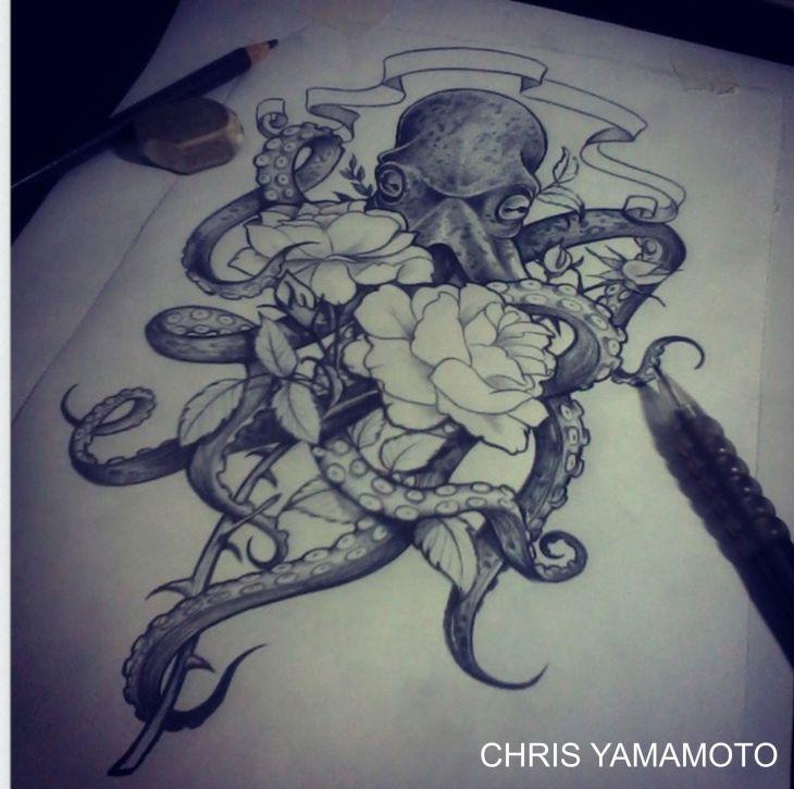 octopus flower sketch tattoo stagramchristianyamamoto