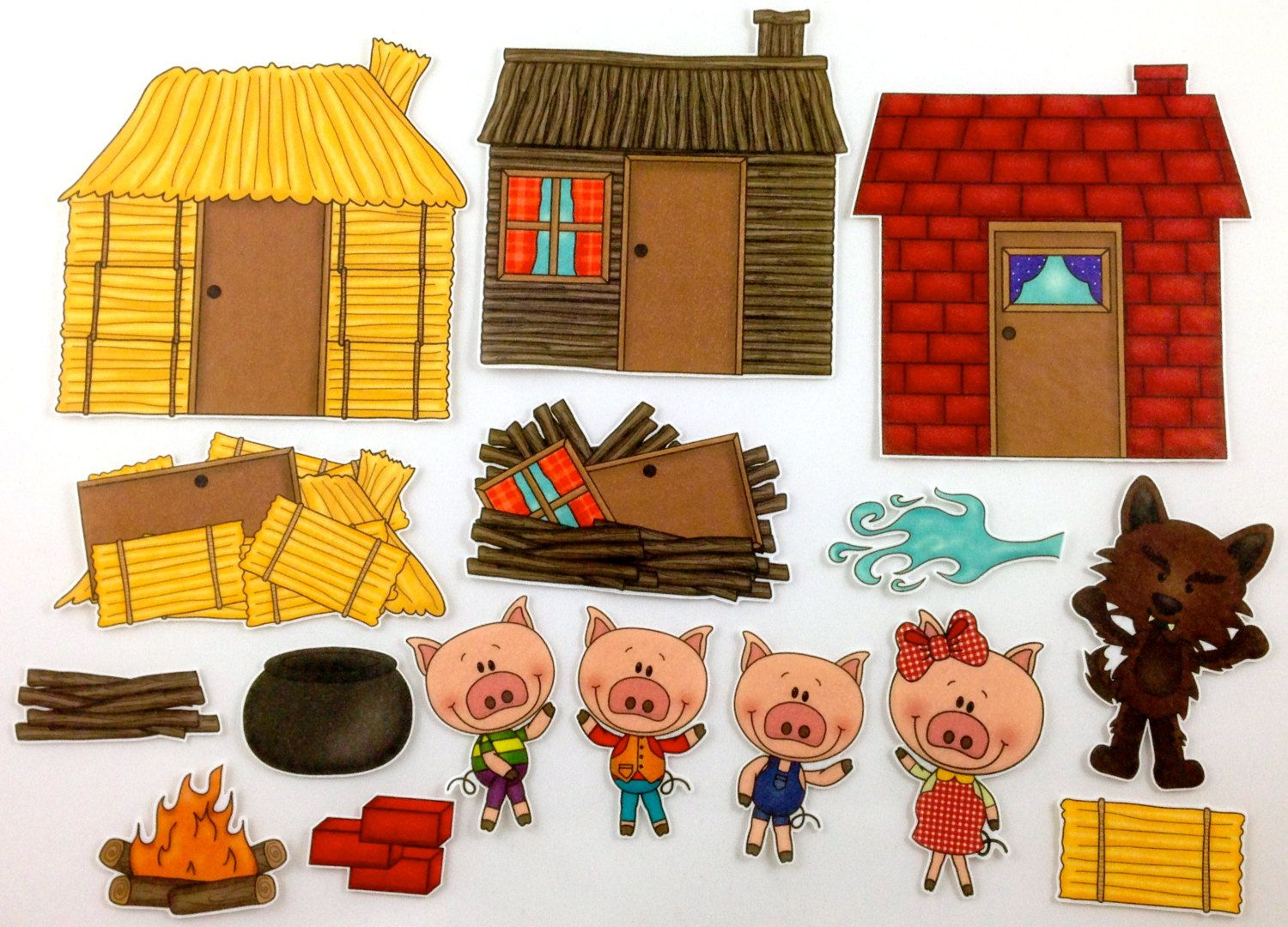 Three Little Pigs Felt Board Story Set By Bymaree On Etsy 20 00 Another Version Sold At
