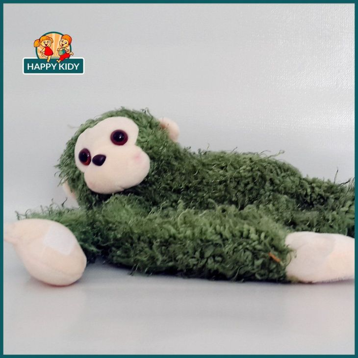 Monkey with Fur Stuffed Toy Green Car Decoration  Price Rs