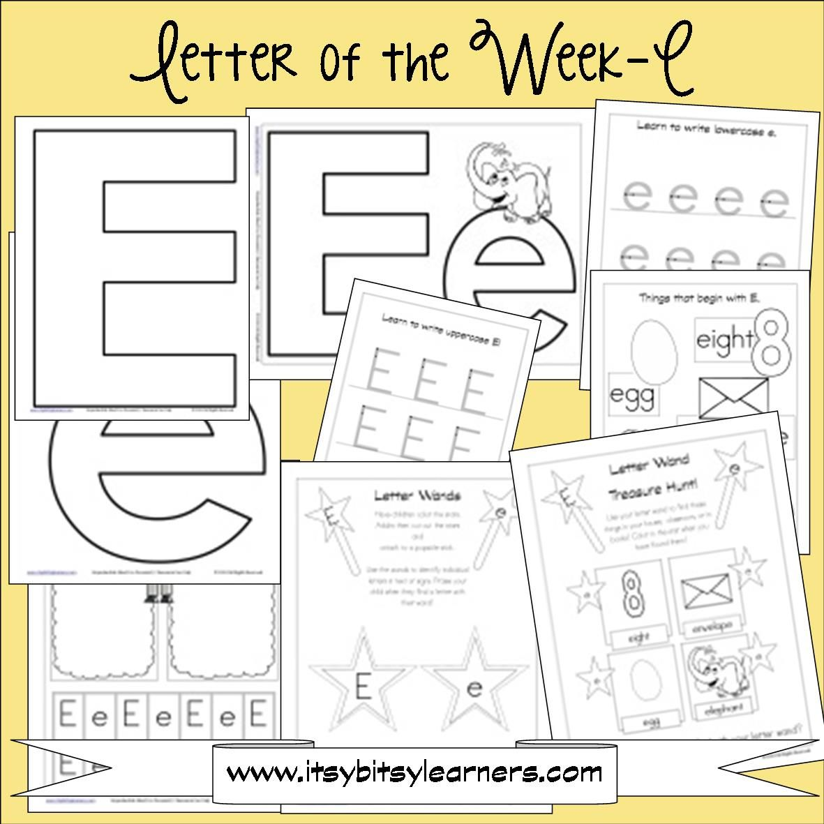 Letter E Preschool Printables Free Also Has Links To Other Letter Sets And Recommended Books