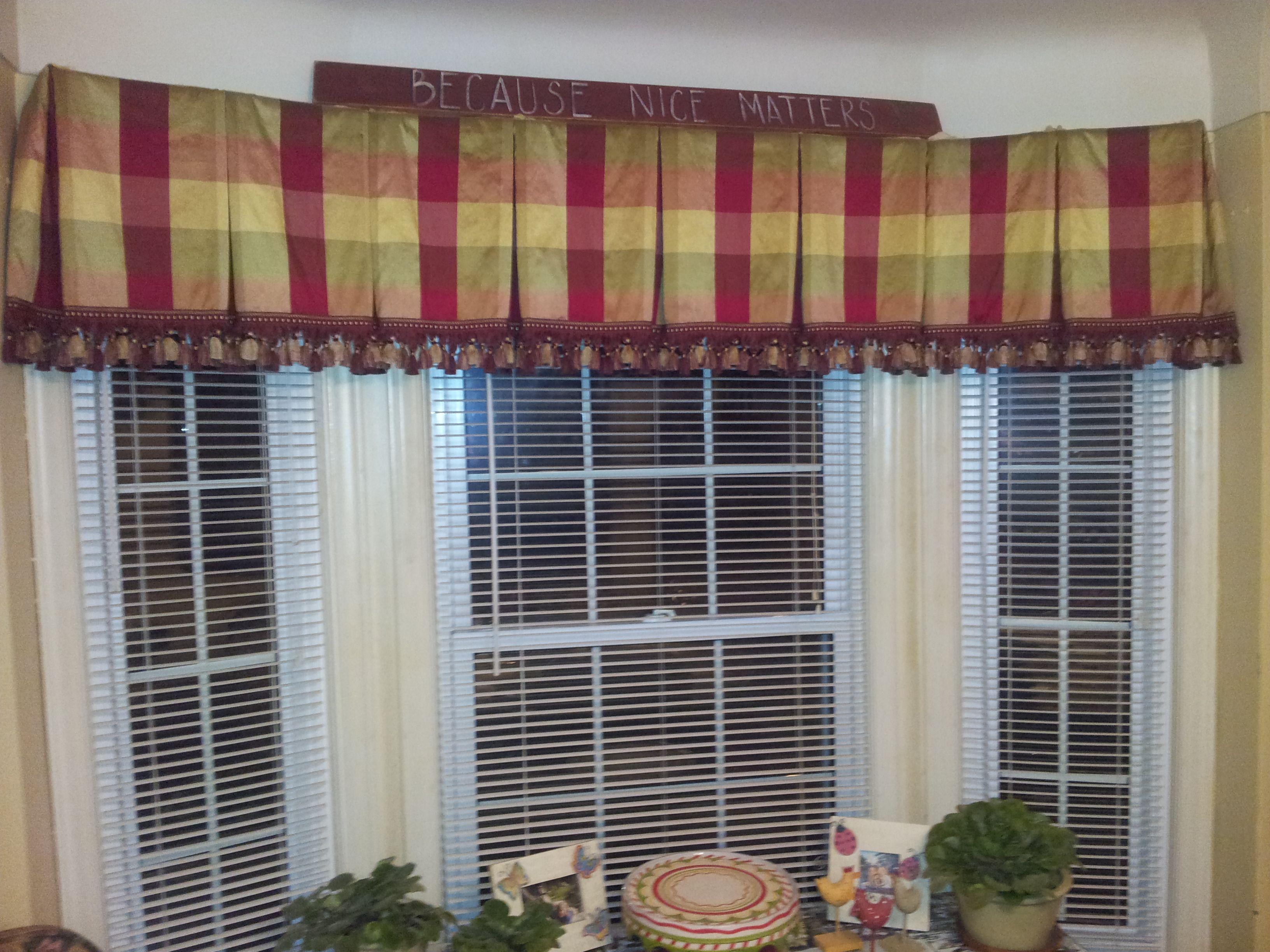Silk Box Pleated Bay Window Valance