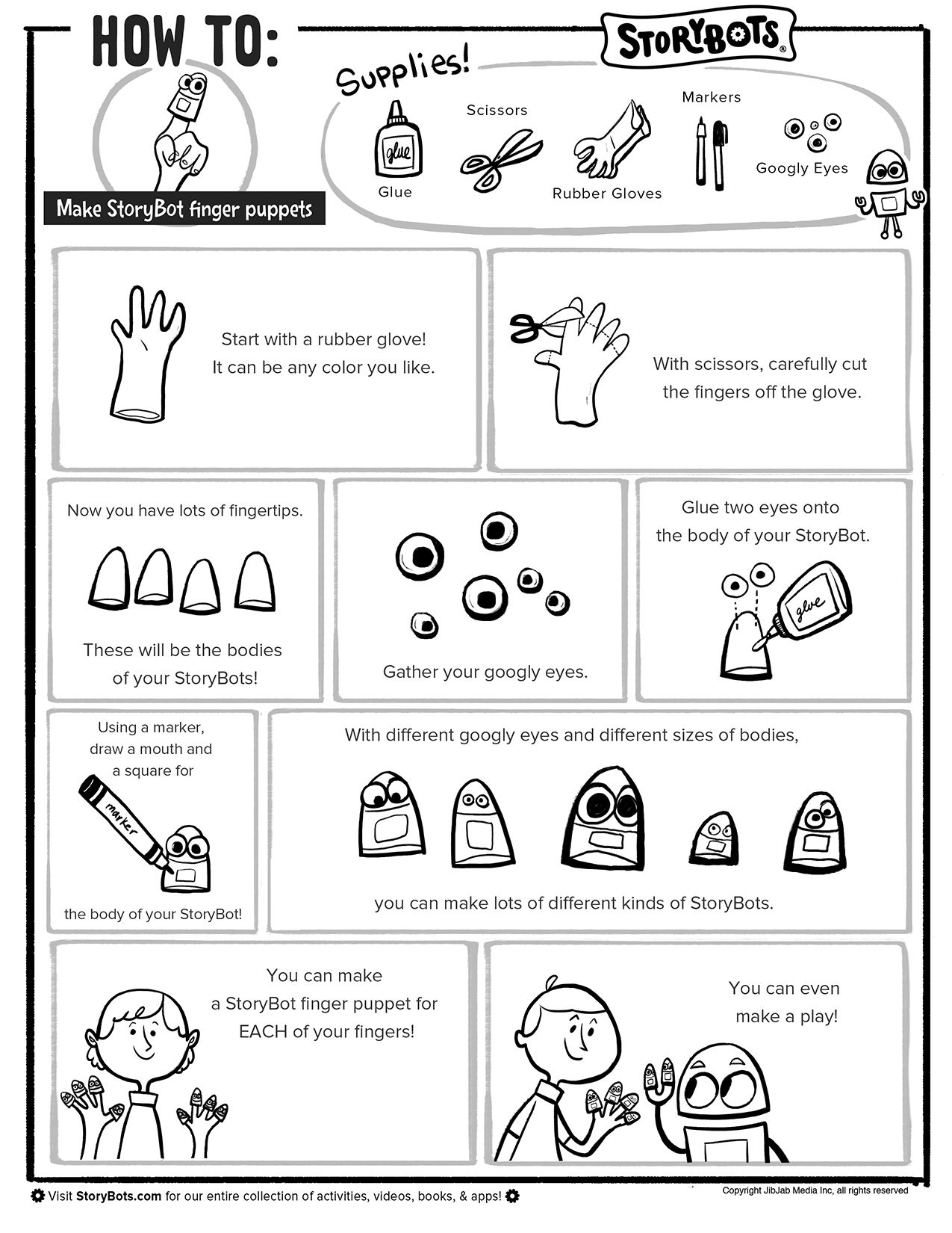 Make Storybots Finger Puppets